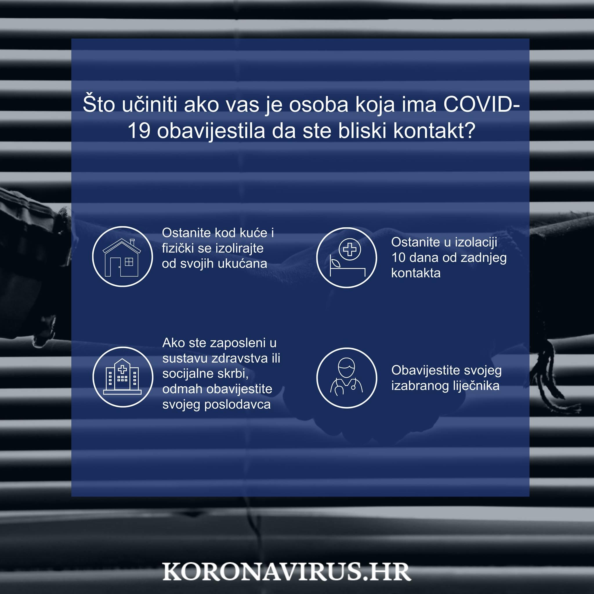 Što učiniti ako ste bliski kontakt osobe pozitivne na COVID-19